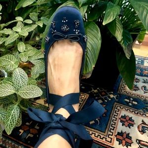 Ann Taylor sapphire bejeweled ballet flats size 8